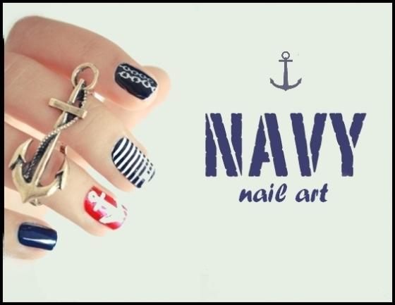 Navy nail art - StyleCoolture